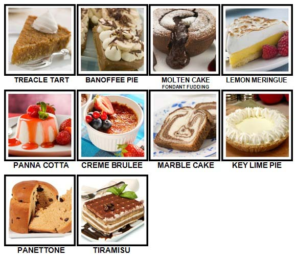 100 Pics Desserts Level 61-70 Answers