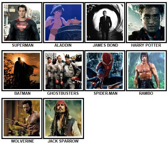 100 Pics Movie Heroes Answers 1-10