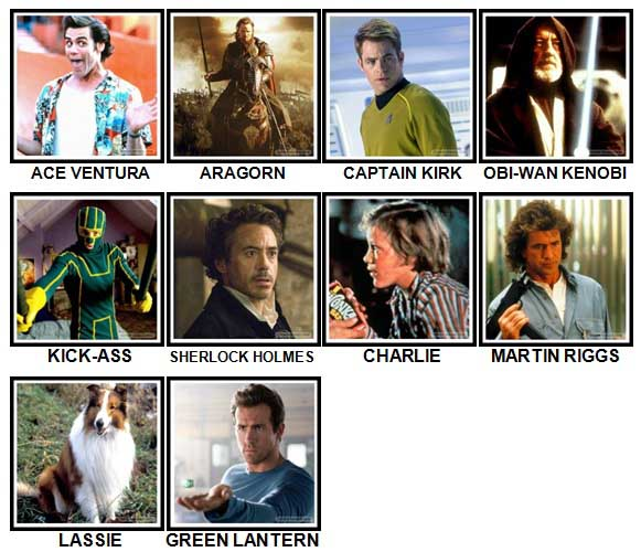 100 Pics Movie Heroes Level 51-60 Answers