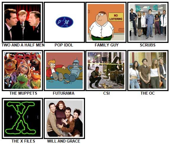 100 Pics TV Shows 2 Answers 1-10