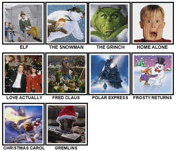 100 Pics Christmas Films Level 1-10 Answers