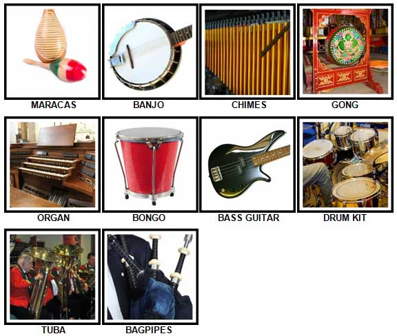 100 Pics Instruments Level 11-20 Answers