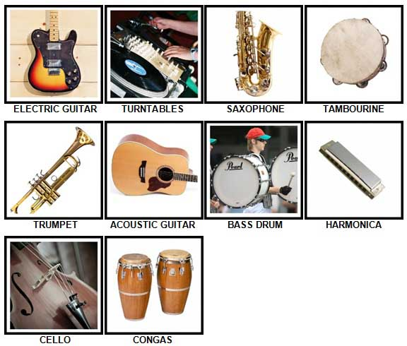 100 Pics Instruments Level 21-30 Answers