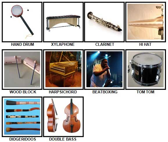 100 Pics Instruments Level 41-50 Answers
