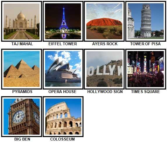 100 Pics Landmarks Answers 1-10