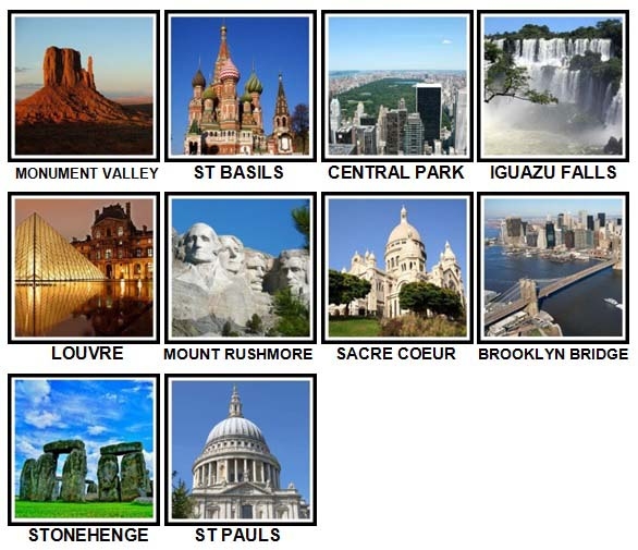 100 Pics Landmarks Level 31-40 Answers