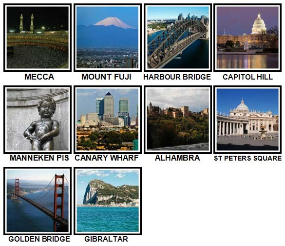 100 Pics Landmarks Level 41-50 Answers