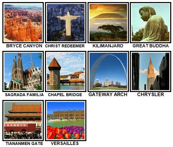 100 Pics Landmarks Level 51-60 Answers