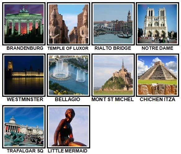 100 Pics Landmarks Level 61-70 Answers