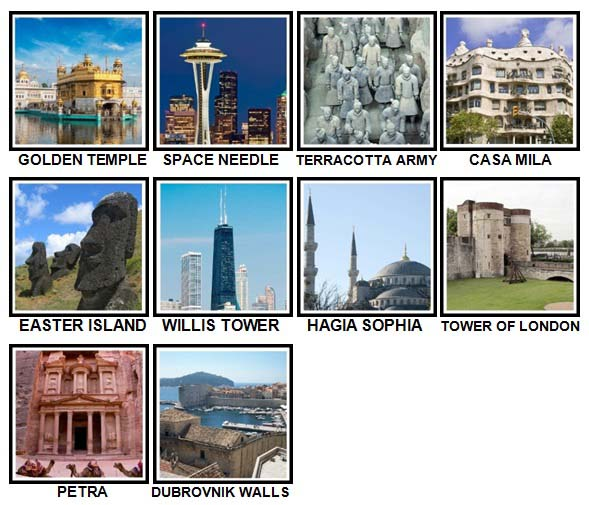 100 Pics Landmarks Level 81-90 Answers