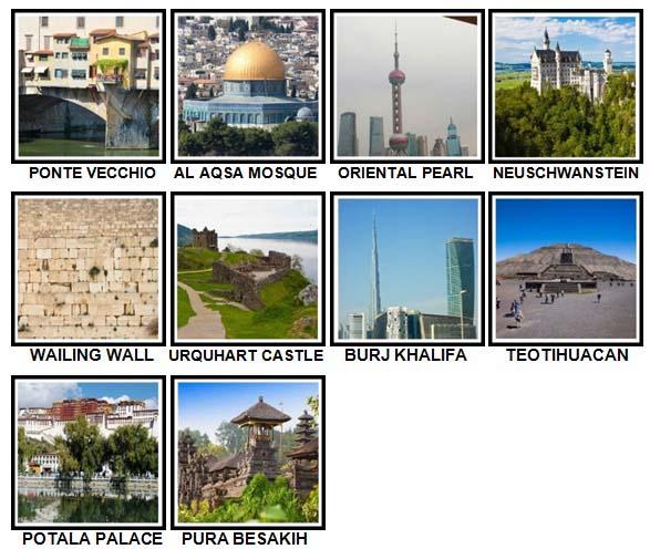 100 Pics Landmarks Level 91-100 Answers