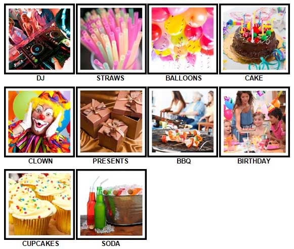 100 Pics Party Answers 1-10