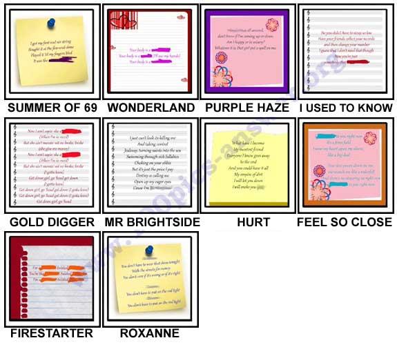 100 Pics Song Lyrics Level 51-60 Answers
