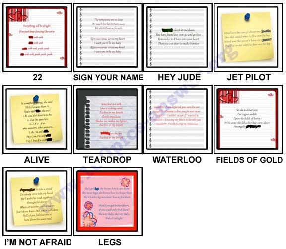 100 Pics Song Lyrics Level 61-70 Answers