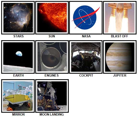 100 Pics Space Answers 1-10