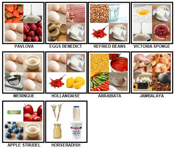 100 Pics What's Cooking Level 51-60 Answers