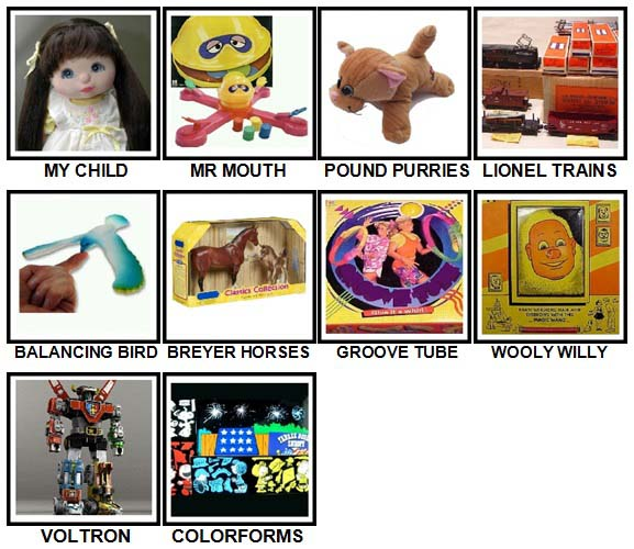 100 Pics Classic Toys Level 51-60 Answers