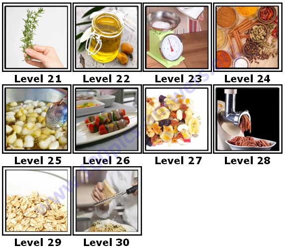 100 Pics Cooking Level 21-30 Answers | 100 Pics Answers