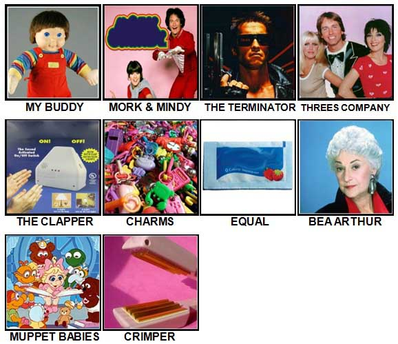 100 Pics I Love 1980s Level 11-20 Answers