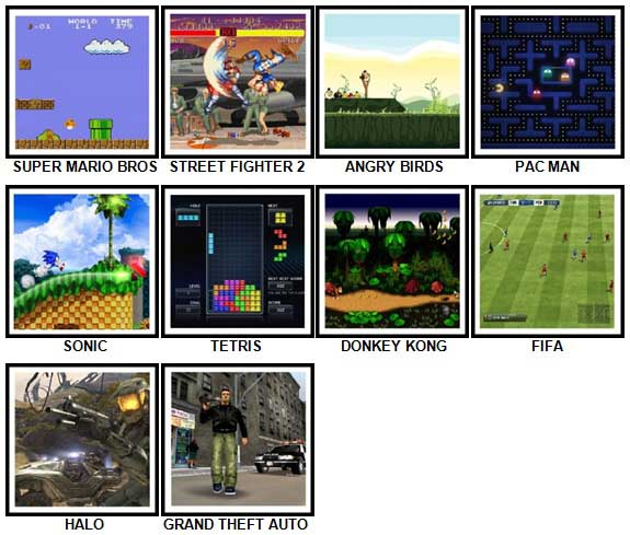 100 Pics Video Games Answers 1-10