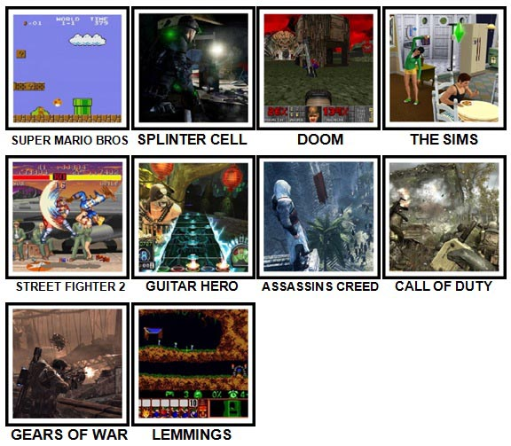 100 Pics Video Games Level 11-20 Answers