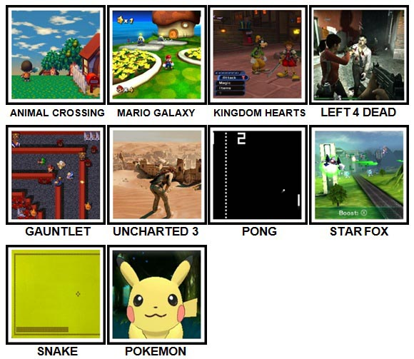 100 Pics Video Games Level 51-60 Answers