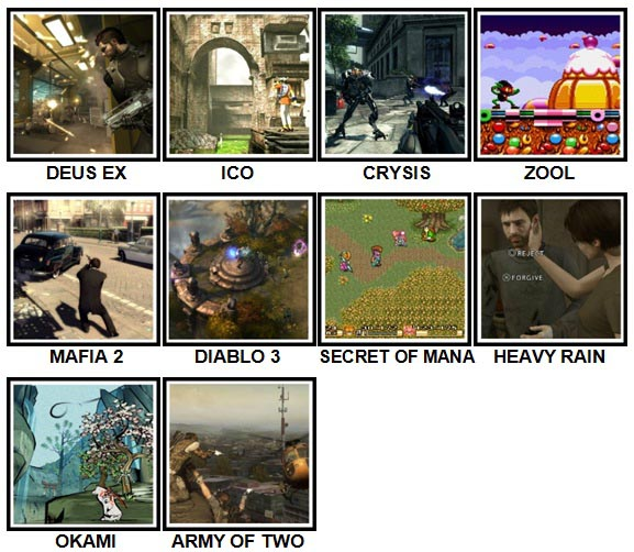 100 Pics Video Games Level 91-100 Answers
