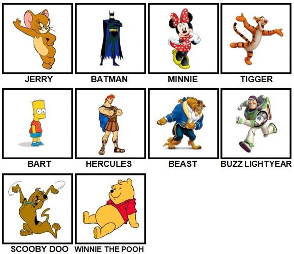100 Pics Cartoons Level 1-10 Answers