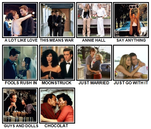 100 Pics Rom-Coms Level 61-70 Answers
