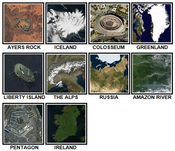 100 Pics Earth From Above Level 21-30 Answers