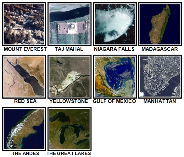 100 Pics Earth From Above Level 31-40 Answers