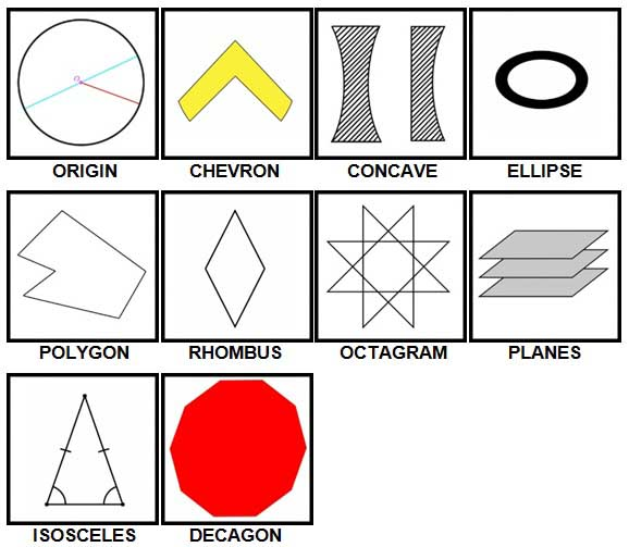 100 Pics Shapes Level 51-60 Answers