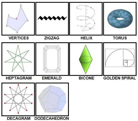 100 Pics Shapes Level 61-70 Answers