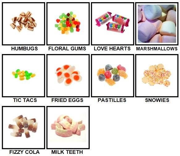 100 Pics Sweet Shop Level 41-50 Answers