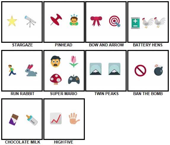 100 Pics Emoji Quiz Level 21-30 Answers