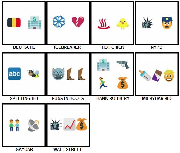 100 Pics Emoji Quiz Level 51-60 Answers