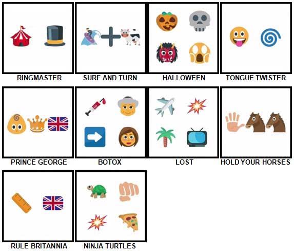 100 Pics Emoji Quiz Level 61-70 Answers