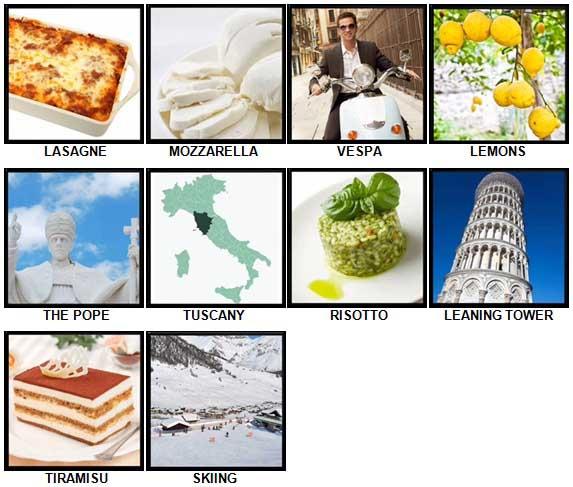 100 Pics I Love Italy Level 11-20 Answers