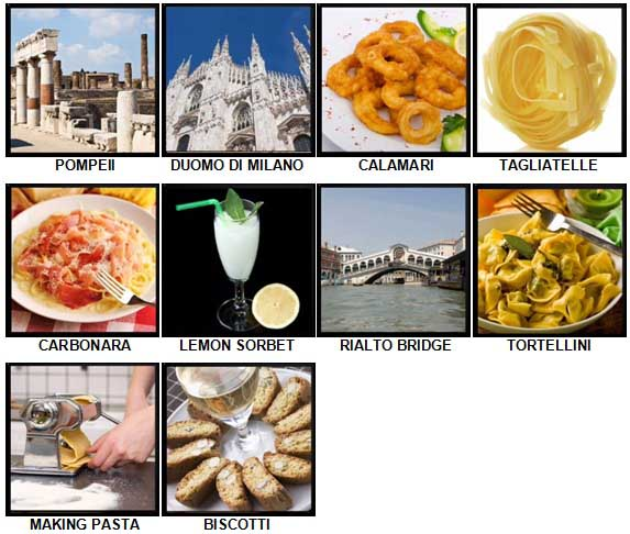 100 Pics I Love Italy Level 51-60 Answers