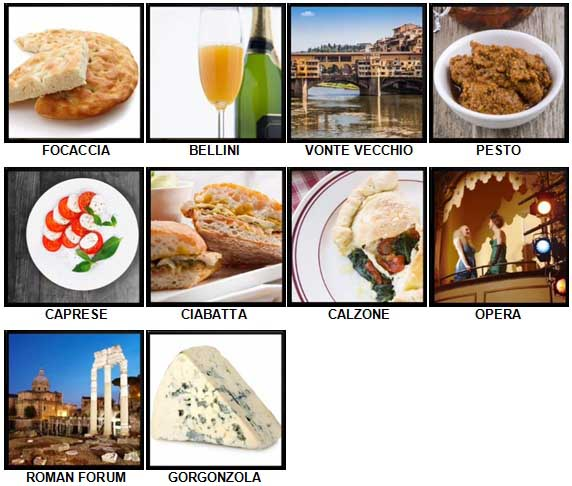 100 Pics I Love Italy Level 61-70 Answers