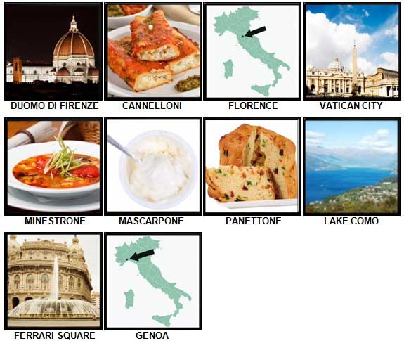 100 Pics I Love Italy Level 71-80 Answers