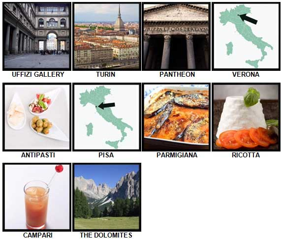 100 Pics I Love Italy Level 81-90 Answers
