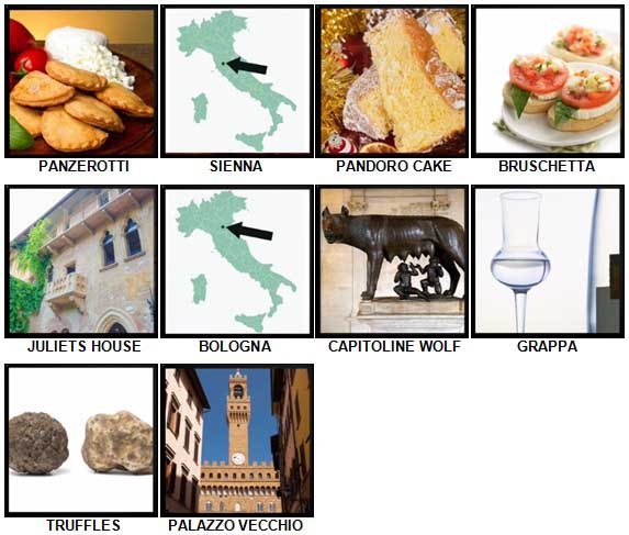 100 Pics I Love Italy Level 91-100 Answers