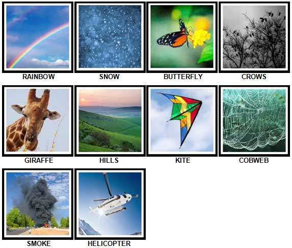 100 Pics Look UP Level 11-20 Answers