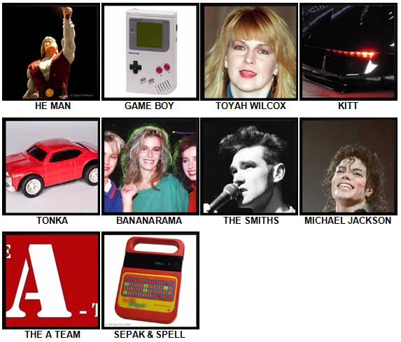 100 Pics The 1980s Level 11-20 Answers