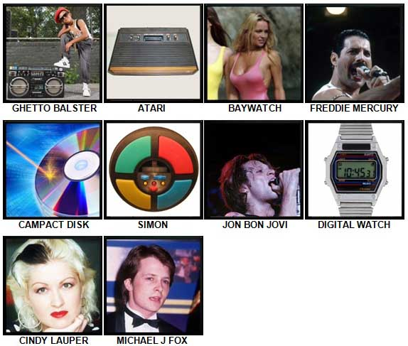 100 Pics The 1980s Level 31-40 Answers