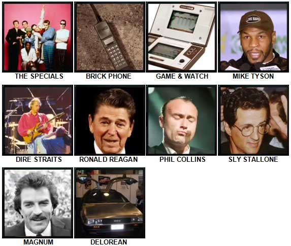 100 Pics The 1980s Level 61-70 Answers