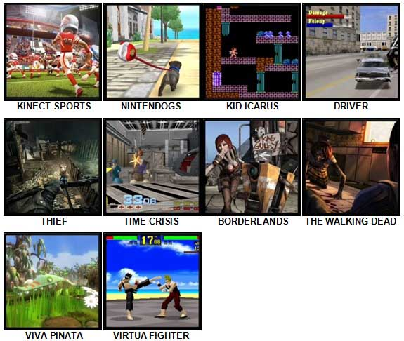 100 Pics Video Games 2 Level 21-30 Answers