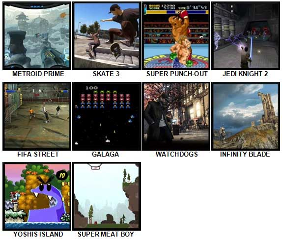 100 Pics Video Games 2 Level 31-40 Answers