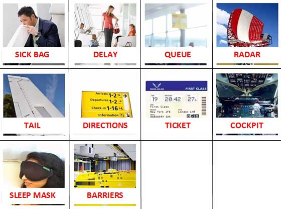 100 Pics Airport Level 11-20 Answers